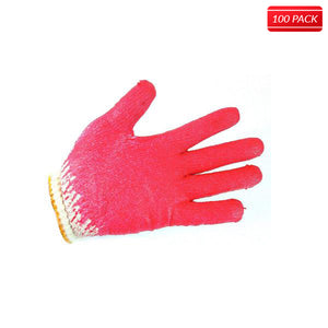String Knit Red Palm Latex Dipped Gloves (100 Pairs)
