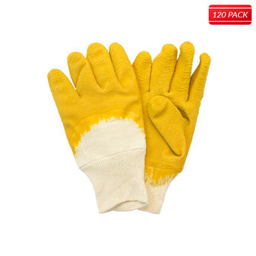 Yellow/Natural Coated Jersey Gloves (120 Pairs)