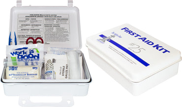 25 Person Plastic First Aid Kit with Wall Mountable Handle - Bridge Fasteners