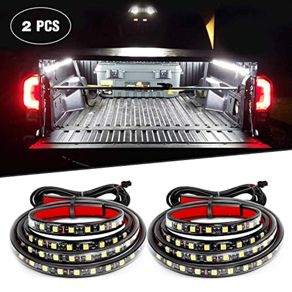 "Nilight TR-05 60"" 2PCS 60'' 180 LEDs Bed Strip Kit with Waterproof on/Off Switch Blade Fuse 2-Way Splitter Extension Cable for Cargo, Pickup Truck, SUV, RV, Boat (White Light)"