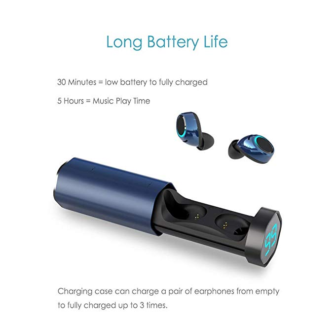 MEES Black True Wireless Earbuds Sports, Bluetooth 5.0 Headphones Waterproof IPX4, Richer Bass HiFi 3D Stereo in-Ear Earphones w/Mic, 3-4 Hours Playback Time, Noise Cancelling Headsets (Auto-Pairing)