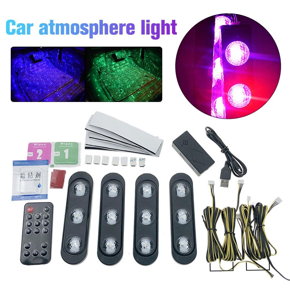 Car Atmosphere Lights Modified Usb Atmosphere Lights Led Decorative Lights Soles Colorful Voice Control Starry Rhythm Lights