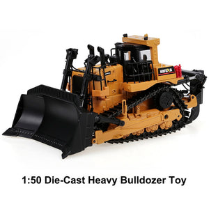 HUINA 1700 1:50 Die-Cast Alloy Heavy Bulldozer Engineering Truck Static Model Caterpillar Wheel Bulldozer Kids Educational Toy