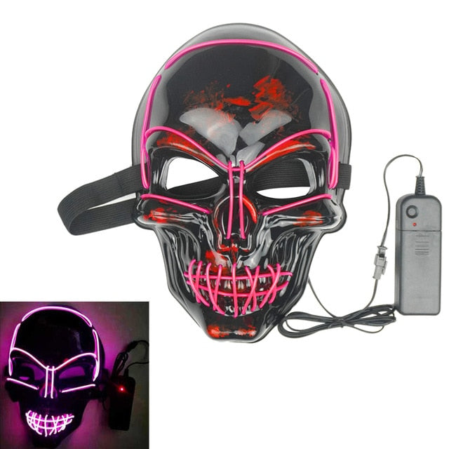 Halloween Neon LED Mask Party Costume Purge Masks Election Cosplay Costume Led DJ Party Light Up Mascara Glow In Dark 42 Colors
