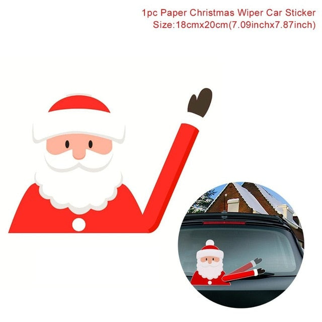 QIFU Santa Claus Snowman Car Sticker Merry Christmas Decorations for Home 2019 Xmas Ornaments Navidad Gifts Happy New Year 2020