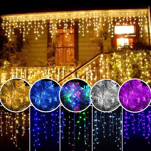 5M Garland  LED Curtain Icicle String Light droop 0.4-0.6m Christmas Fairy Light  Outdoor Waterproof Decorative LED Party Garden