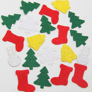 40pc Christmas Cutting Felt Patches Christmas Tree Sock Bell Snowflakes Snowman For DIY Sewing Craft Fabric Cloth Decor Stickers