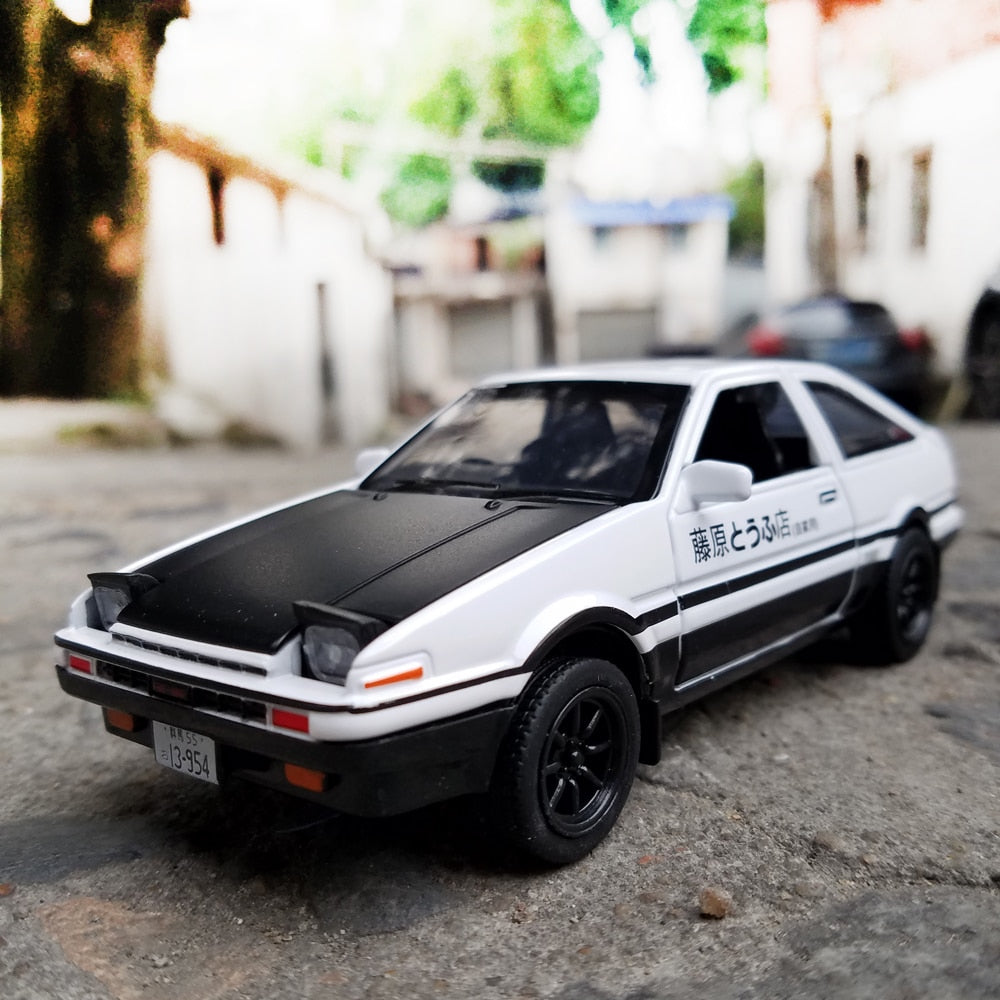 Initial D AE86 Alloy Metal Diecast Cars Model Inital Toy Car Vehicles RX7 Pull Back 1:28 Light For Children Boy Toys