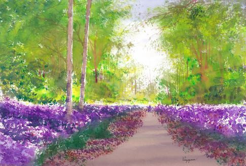 Latin Paintings for Sale - A purple path to dream
