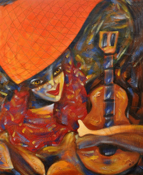 Latin Paintings for Sale - Arlequin with Guitar