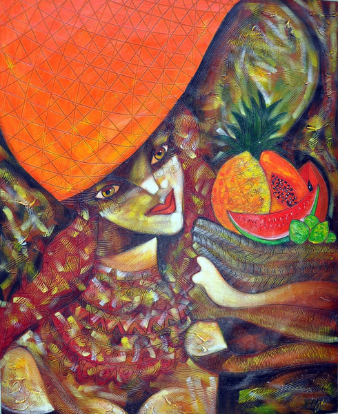 Latin Paintings for Sale - Arlequin with Fruits