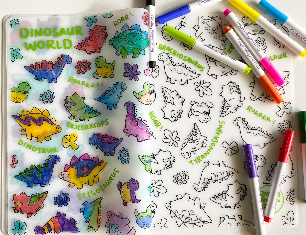 Colouring Placemat : Dinosaur World (Single Mat only)