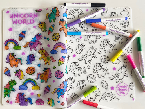 Colouring Placemat : Unicorn World (Single Mat only)