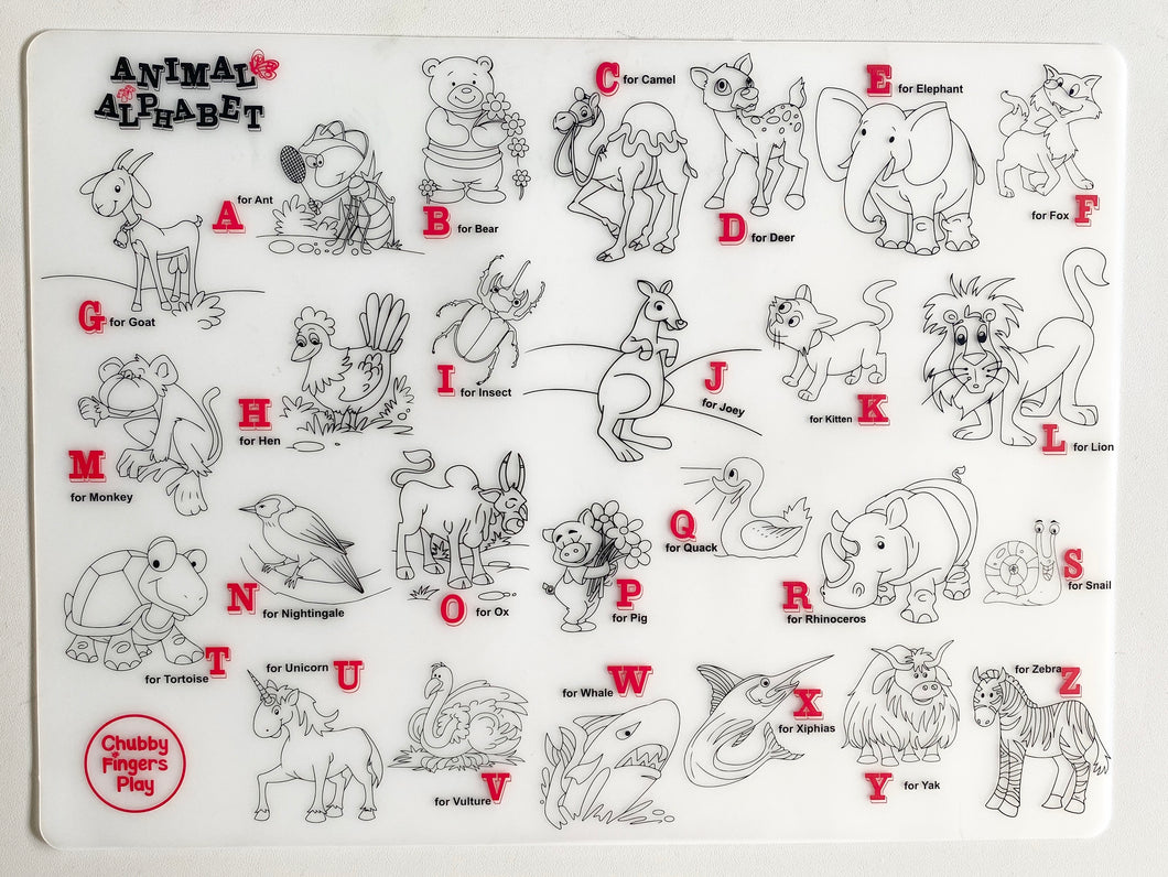 Colouring Placemat : Animal Alphabets(Single Mat only)
