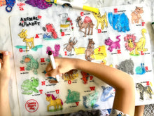 Load image into Gallery viewer, Colouring Placemat : Animal Alphabets + Washable Markers Set