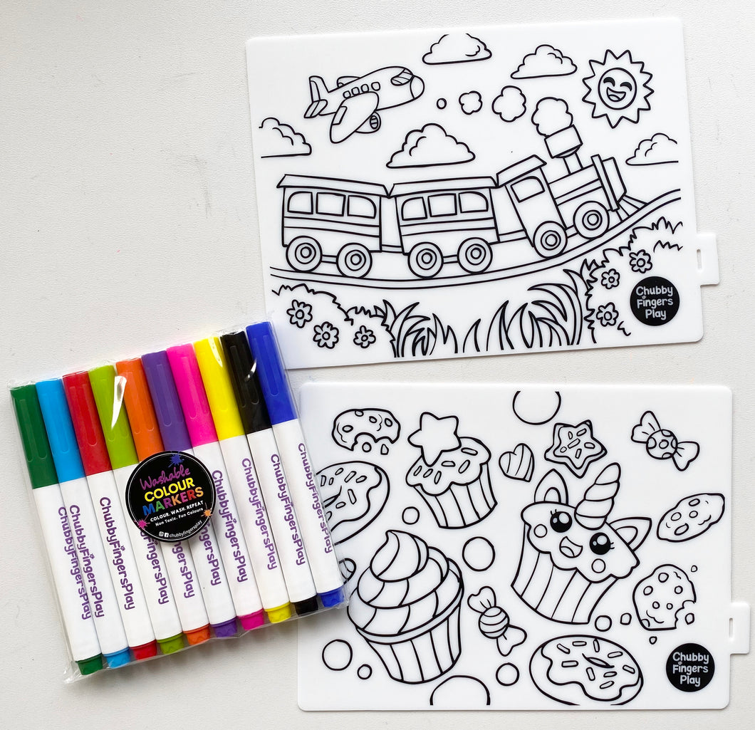 Mini Colouring Mats: Trains&Treats + Markers Set