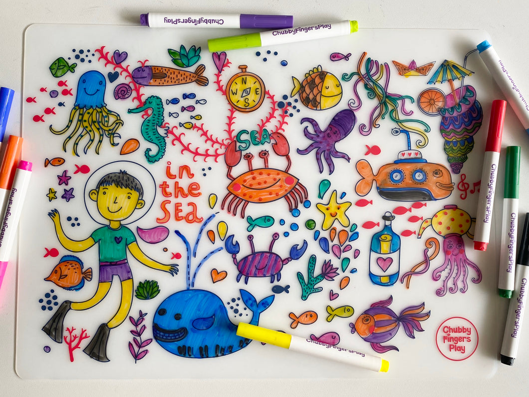 Colouring Placemat : Under the Sea + Washable Marker Set