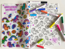 Load image into Gallery viewer, Colouring Placemat : Unicorn World + Washable Marker set