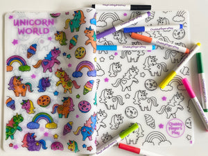 Colouring Placemat : Unicorn World + Washable Marker set