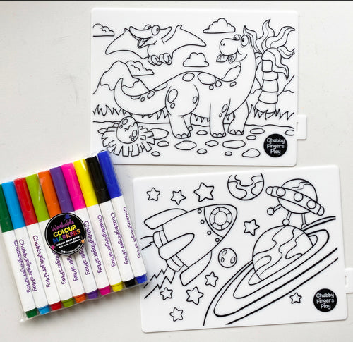 Mini Colouring Mats: DinoSpace + Markers Set
