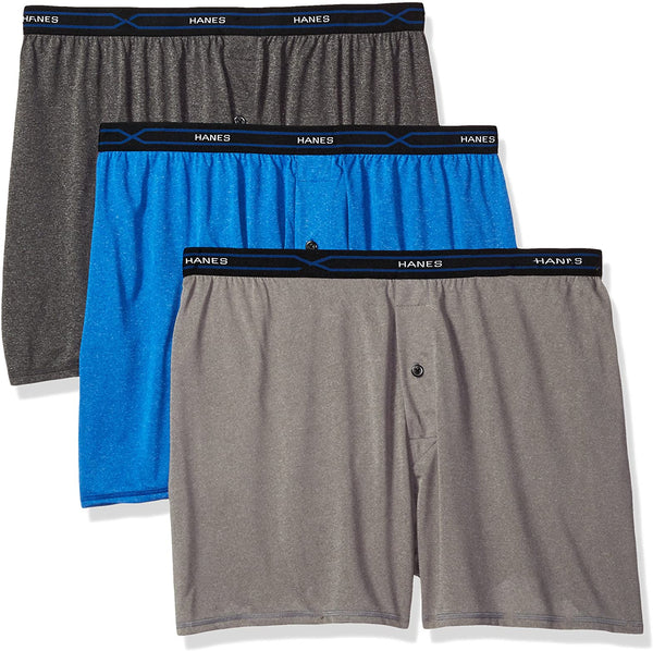 Hanes X-Temp Lightweight Boxer Shorts 3-Pack PXBXA3 Assorted