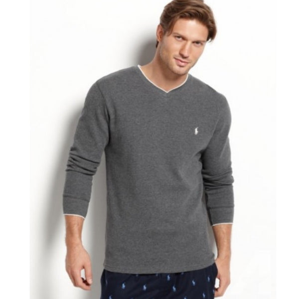 Polo Ralph Lauren Men's Long Sleeve Tipped V Neck Waffle Thermal Top P966