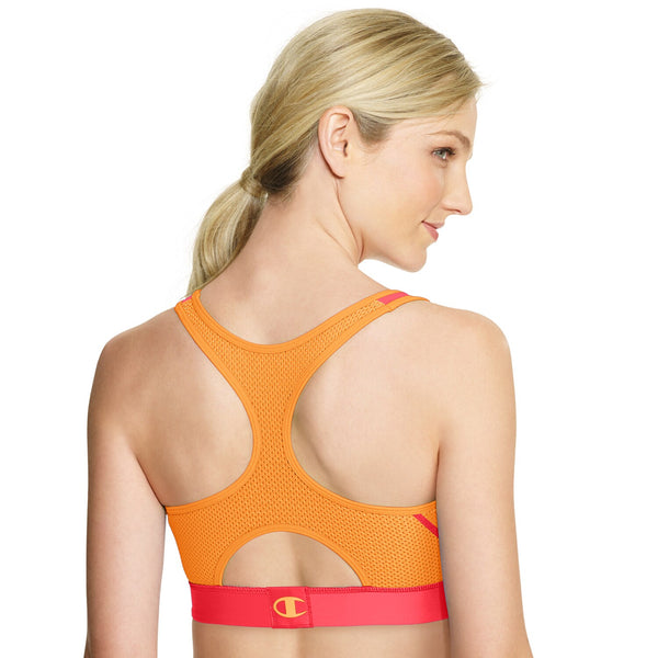 Champion Women's Great Divide Impact Sports Bra - B7917 Melon Orange Medium