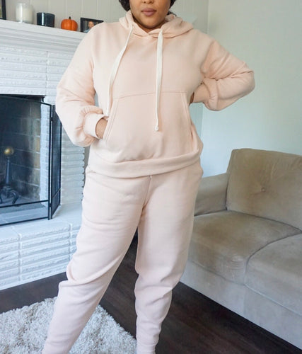 Blushed Oversized Hoodie Jogger Set - with Cellphone Pocket