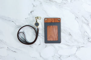 木。皮革掛頸咭套 Kawoo Wooden Leather Lanyard Card Holder