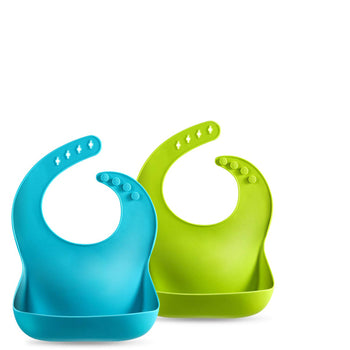 Premium Silicone Baby Bibs with Large Food Catcher Pocket (2-pack, Turquoise/Lime Green) - ParentsWave