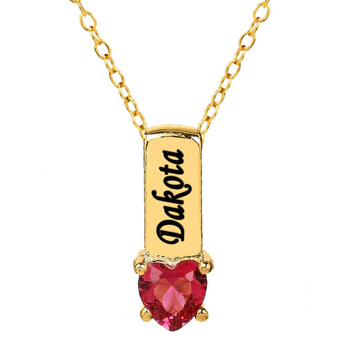 Gold One Heart Stone Pendant with Birthstone and Engraving