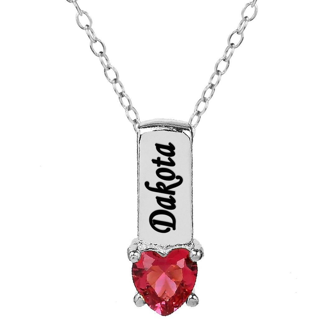 Sterling Silver One Heart Stone Pendant with Birthstone and Engraving