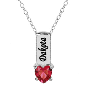 One Heart Stone Pendant with Birthstone and Engraving