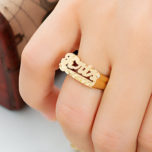 Personalized Name Ring with Dia Cut