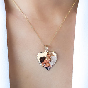 "Gold 7/8"" Heart Color Photo Pendant"