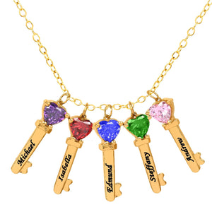 Gold Five Key Charms with Heart Birthstones and Engraving