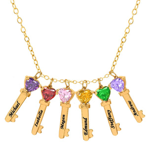 Gold Six Key Charms with Heart Birthstones and Engraving