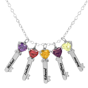 Sterling Silver Five Key Charms with Heart Birthstones and Engraving