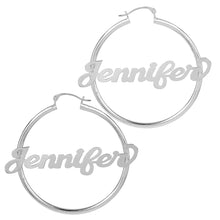 Load image into Gallery viewer, Sterling Silver Hoop Name Earrings