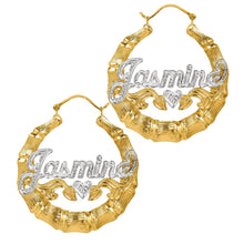 Load image into Gallery viewer, Gold Rhodium Beaded Round Bamboo Name Earrings