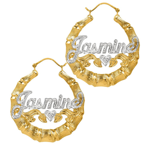 Gold Rhodium Beaded Round Bamboo Name Earrings