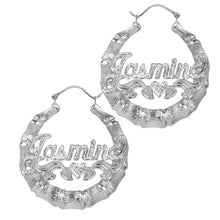 Load image into Gallery viewer, Sterling Silver Beaded Round Bamboo Name Earrings