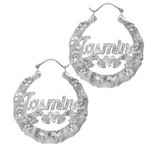 Sterling Silver Beaded Round Bamboo Name Earrings