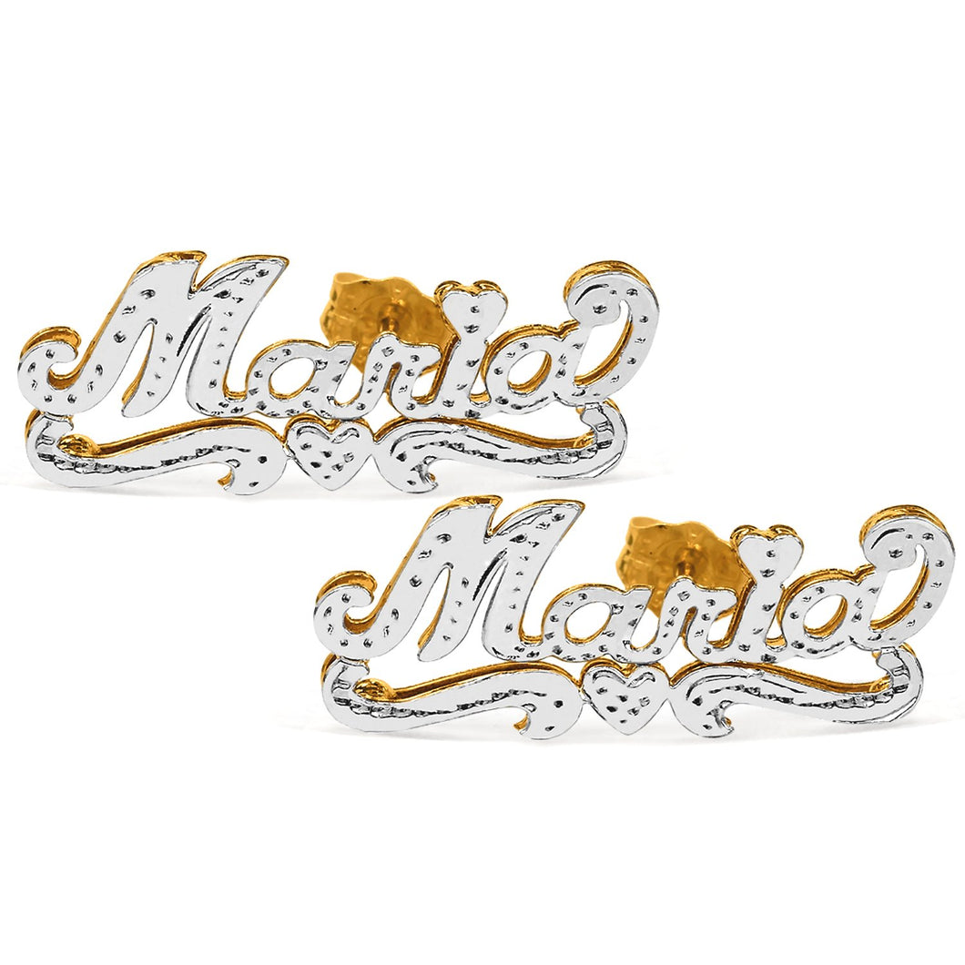 Gold Rhodium Beaded Stud Name Earrings