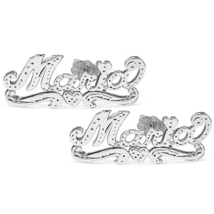 Sterling Silver Stud Name Earrings