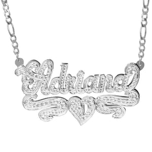 Sterling Silver Adriana Name Necklace with Rhodium Heart & Tail