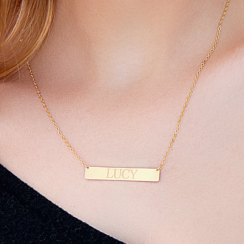 Horizontal Engraved Bar Necklace