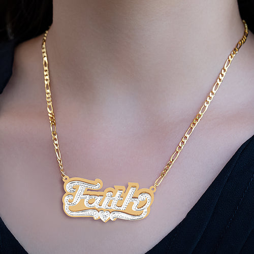 Amber Name Necklace with Rhodium Heart & Tail