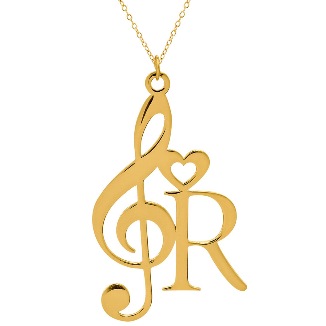 Gold Musical Note with Initial Necklace
