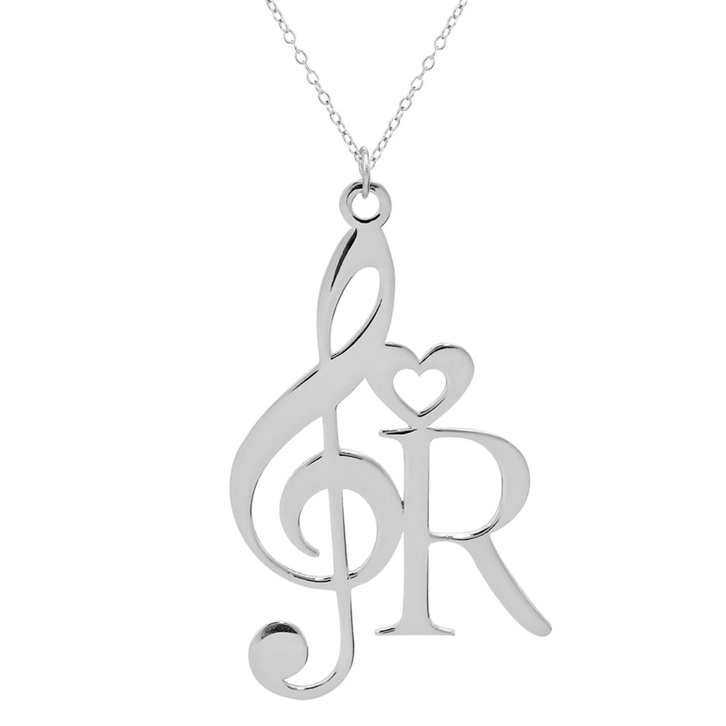 Sterling Silver Musical Note with Initial Necklace
